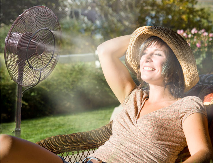 lounging by a misting fan