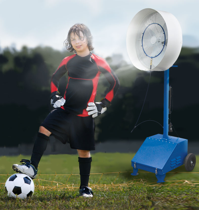 misting fan cools off soccer player - Misting Fan