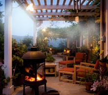 misting system cools a patio
