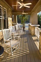 outdoor fan cools a rural porch