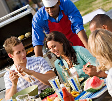 outdoor cooling makes parties more enjoyable and guests more comfortable