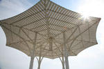 a lattice shade canopy with central supports