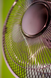 close up of outdoor fan on grass